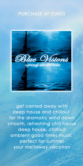 """Purchase Blue Visions """"A Journey Into Chill House"""" at iTunes."""